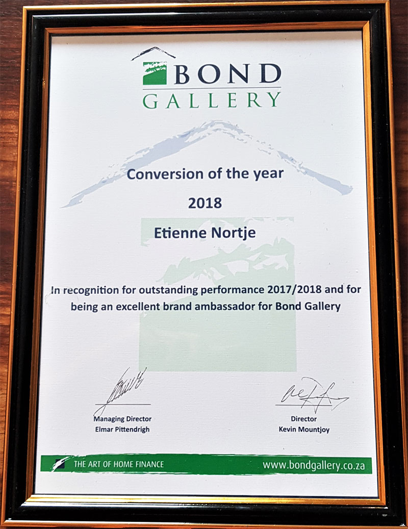 Award for highest conversion rate within the Bond Gallery group Certificate